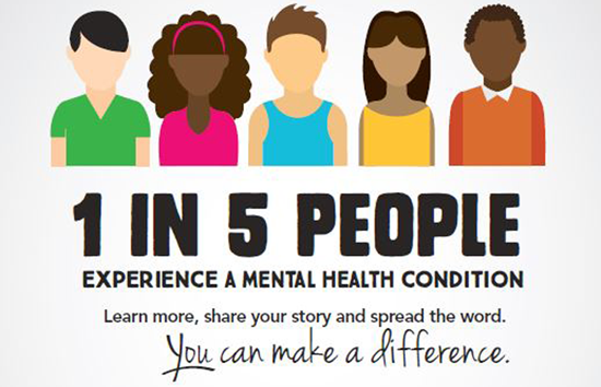1 in 5 people experience mental health conditions - Mental Health Awarness