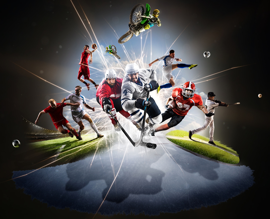 Sports Psychology - collage of different sports including baseball, basket ball, football, soccer, hockey and motor cross
